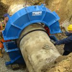 HYDRO FAST repair coupling for flange adapter installation